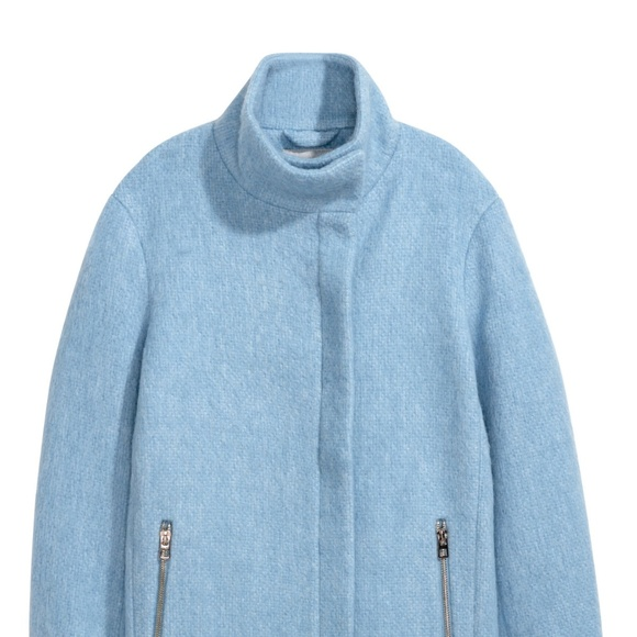 ae87c2ef2 Light Blue Wool-blend Felted Stand up Collar Coat